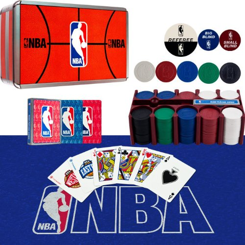 Card Collector Set 2 (NBA 200 Chip Poker Set with Collector's Tin with Cards, Felt)