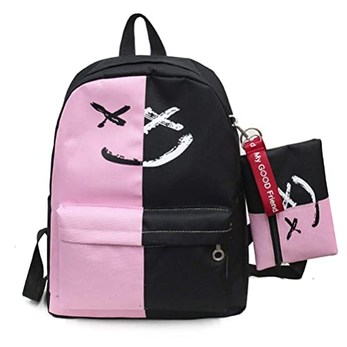 VHVCX De Lujo De 2 Pc/Mujeres Mochilas Escolares Sonrisa Impresión Estilo De Muy Buen Gusto Bolsas Para Los Conjuntos De Chicas Adolescentes Compuesto ...