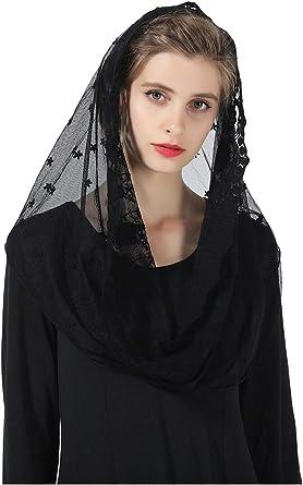 Infinity Chapel Velo Iglesia católica negro Mantilla encaje bordado blanco elegante Head Cover V104: Amazon.es: Ropa y accesorios