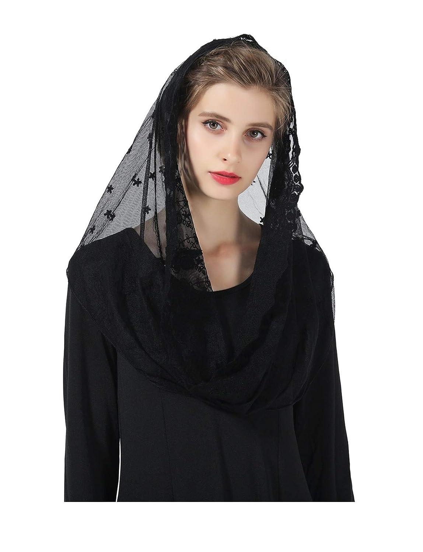 Mantilla De Encaje Espa/ñola Mujer Capilla Velo Pa/ñuelo de Iglesia Cat/ólica Bordado Chal Bufanda Negra Blanca V104