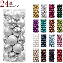 "KI Store 24ct Christmas Ball Ornaments Shatterproof Christmas Decorations Tree Balls for Holiday Wedding Party Decoration, Tree Ornaments Hooks included 2.36"" (60mm Silver)"
