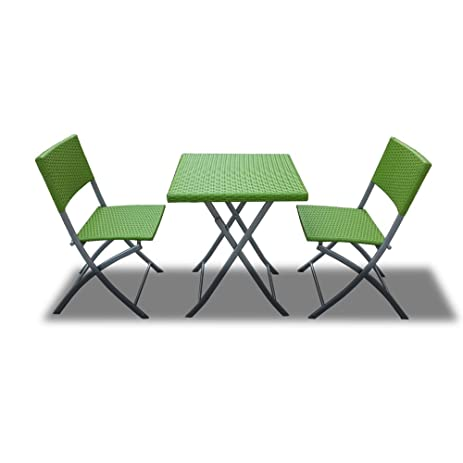 Bimini Outdoor Patio Foldable Dining Bistro Set In Green Wicker