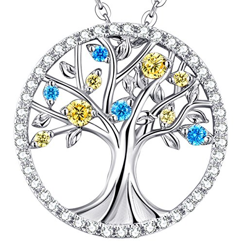 The Tree of Love Life Pendant November Birthstone Citrine and March Birthstone Aquamarine Necklace Sterling Silver Jewelry for Family Wife Birthday Gift for Her