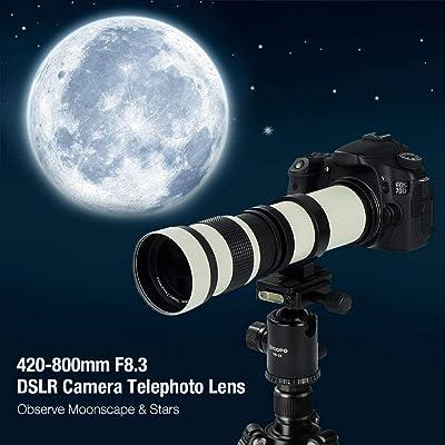 White Version Lightdow 420-800mm f/8.3 Manual Zoom Super Telephoto ...
