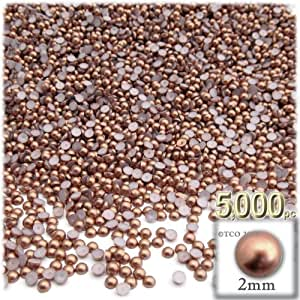 5,000pc Pearl finish Half Dome Beads, Round, 2mm, Rustic Copper Brown