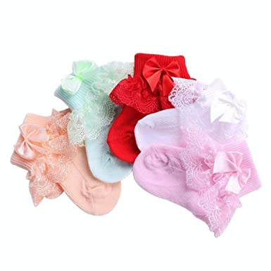 Baby Socks For Newborn Girls Solid Color;Frilly Princess Calcetines Bow-Knot 12345 6M