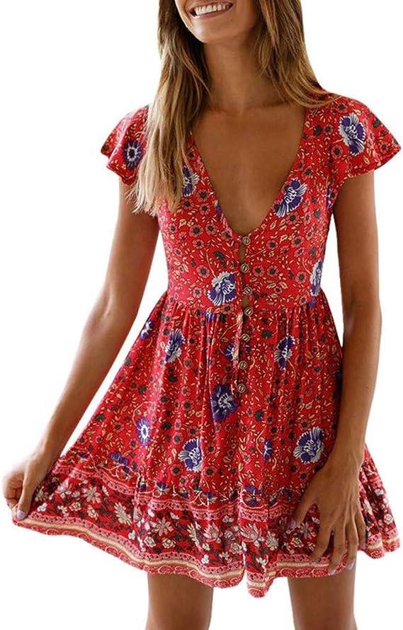 Dress for Women Wrap V Neck Short Sleeve Polka Dot Floral Beach Holiday Chiffon Dress Casual Short Skirt with Belt