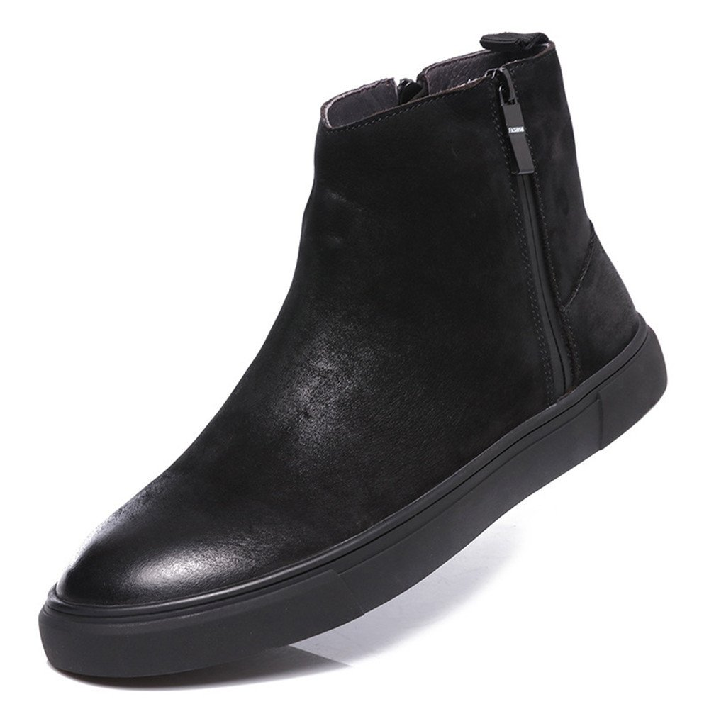 Männer martin stiefel lange zylinder stiefel mens martin runde leder warme stiefel.,schwarz,39