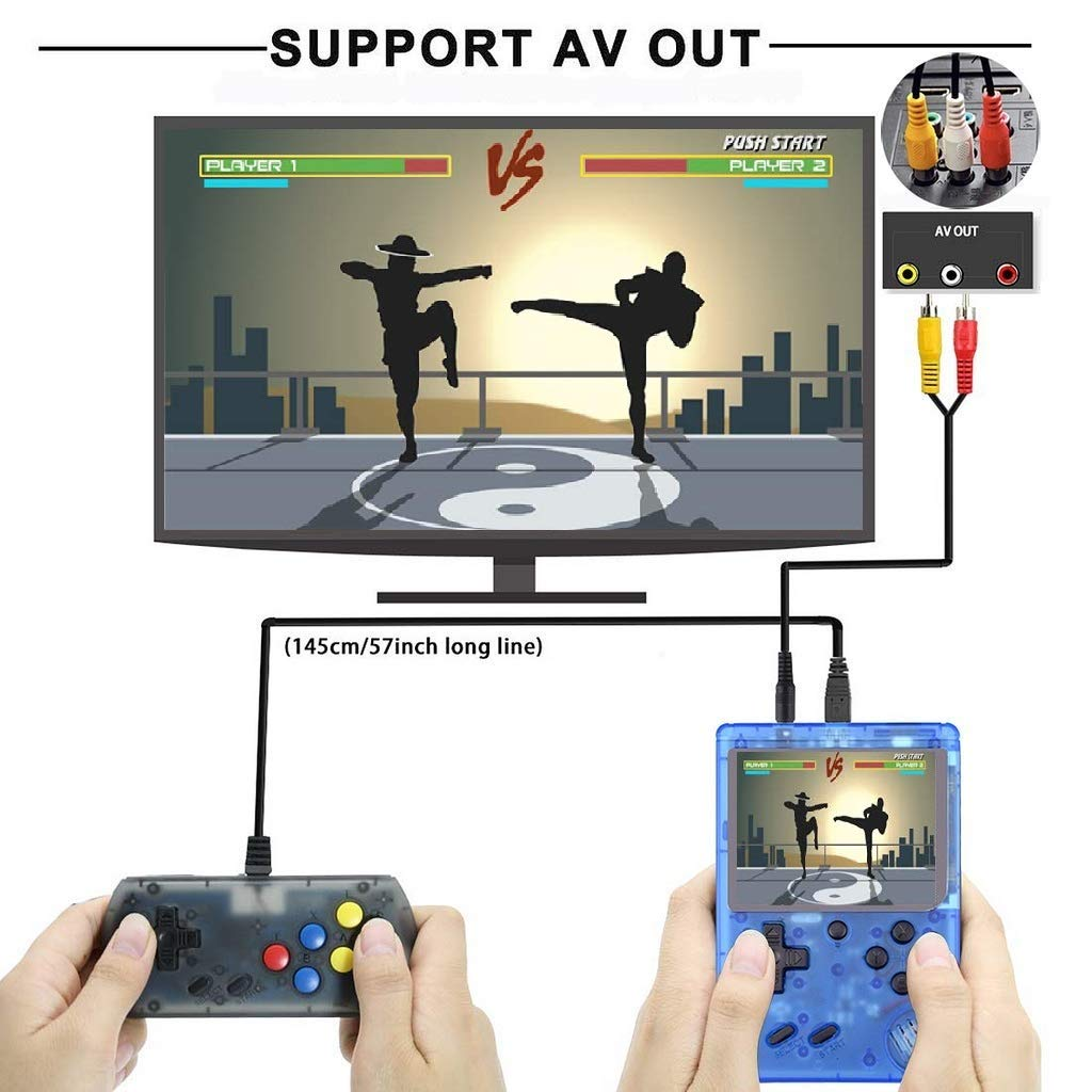 360 Retro Games Handheld Game Console, 2 Players, Classic Game Console, 3 Inch Screen USB Charger Supports TV, FC System Plus Extra Joystick Mini Controller, Gifts for Kids Children.(Blue) by Haberman (Image #3)