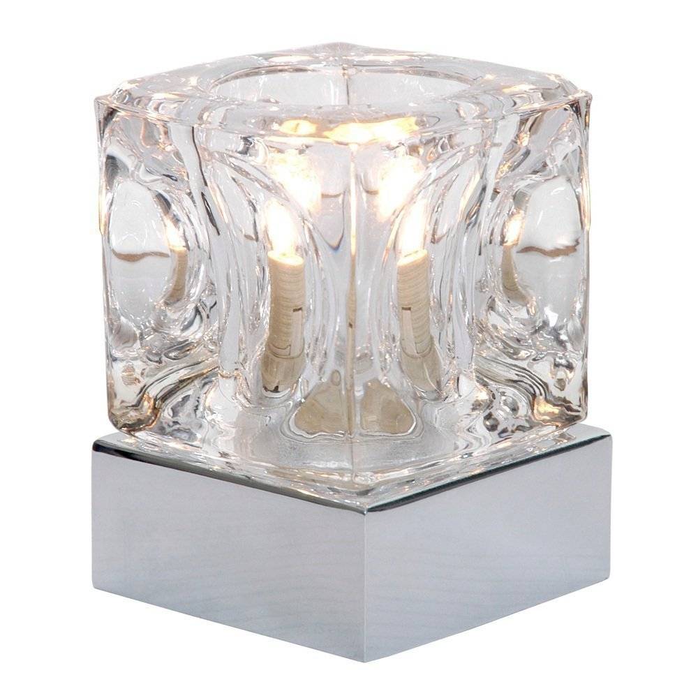 modern glass ice cube touch table lamp with chrome base amazoncouk kitchen u0026 home