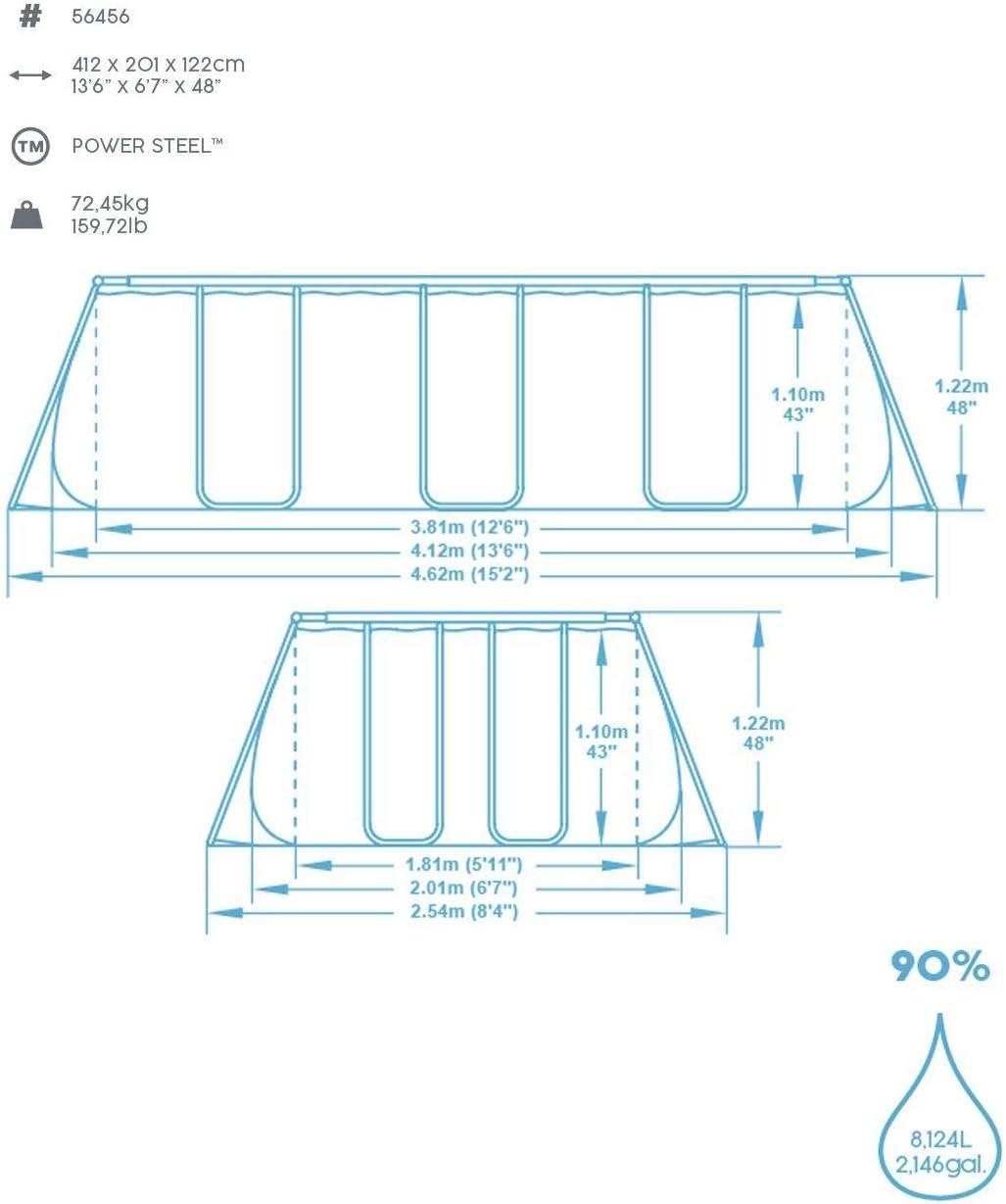 mit Filterpumpe Sicherheitsleiter /& Abdeckplane 671 x 366 x 132 cm eckig Bestway Power Steel  Framepool Komplett-Set