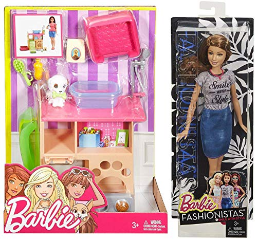 Barbie Pup Dog Pet Doll 2 Pack Smile with Style Shirt Fashion #15 with Pink Necklace Bundled with + Pet Room Animal Grooming Accessory Playset -