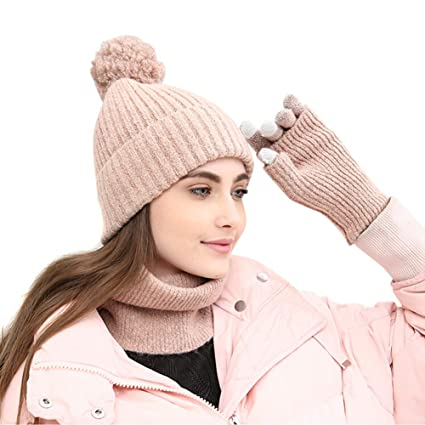 d5547b7ff7848 Image Unavailable. Image not available for. Color  3 Piece Beanie Pompom ...