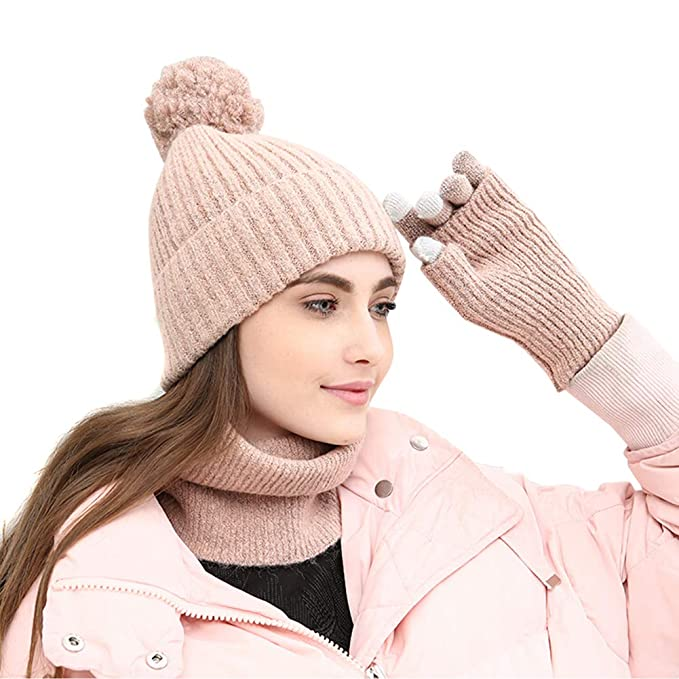 Amazon.com  3 Piece Beanie Pompom Hat Scarf and Touch Screen Gloves ... 6c13996c562
