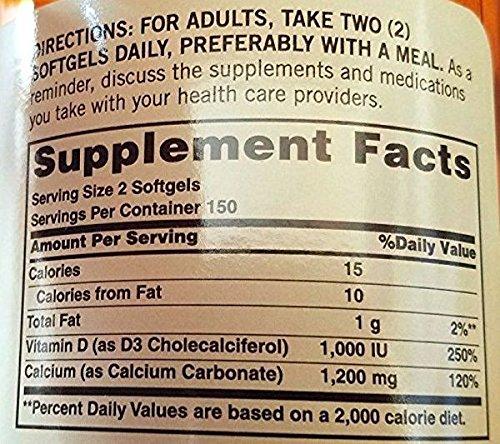 Sundown Naturals Calcium plus Vitamin D3 1200 mg per serving D3 300 Rapid Release Liquid Softgels Made in USA