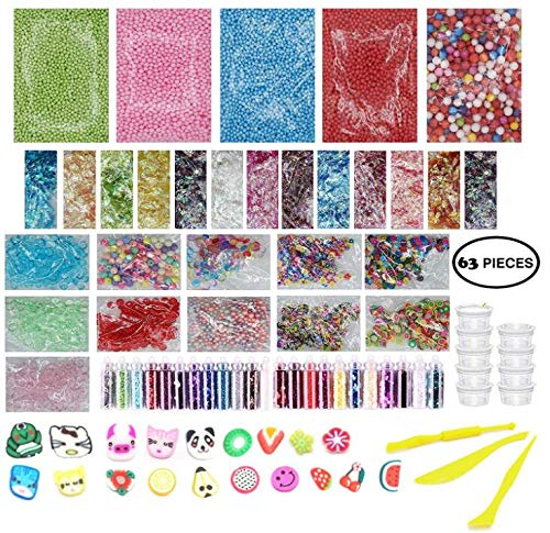 (Slime Supplies Kit 63 Pack - Big Slime Making Kit Include Floam Balls Glitter Animal Flower Fruit Slices Fishbowl Beads Paper Sugar - DIY Slime Making Accessories - Slime Making Tools & Containers)