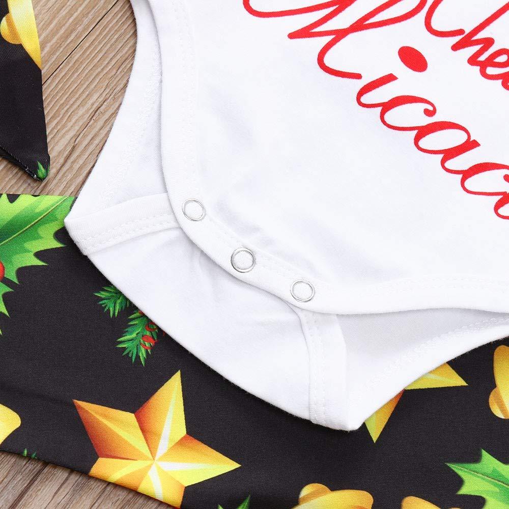 fda0a42a7 Amazon.com: Hatoys Newborn Baby Boys Girls Christmas Bell Star Romper Pant  Hat Headband Outfits Set Clothes: Clothing