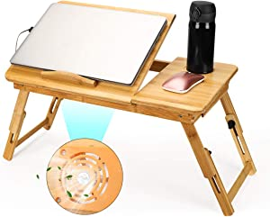 ETE ETMATE Bamboo Laptop Desk, Adjustable Breakfast Serving Bed Tray, Foldable Notebook Computer Holder, with Tilting Top USB Cooling Fan Storage Drawer