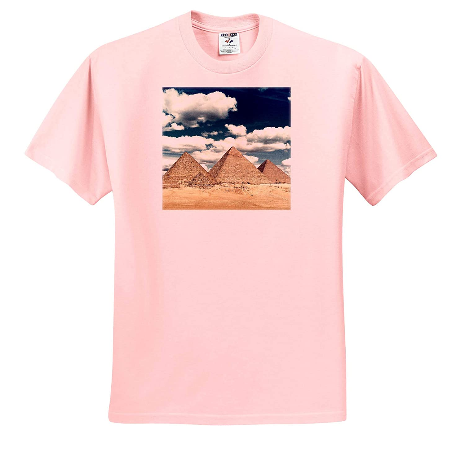 3dRose Perkins Designs Egypt with Blur Edges T-Shirts Photographic Collage of The Three Pyramids at Giza Photography