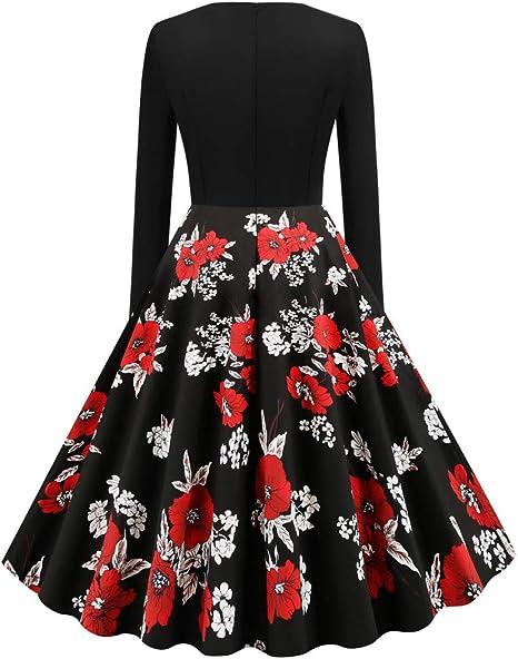 Sukienka damska z kwiatowym wzorem z długim rękawem, okrągły dekolt, vintage, Boże Narodzenie, nadruk na szyi, styl vintage, wieczorowa, na imprezę, do klubu, na karnawał, cosplay, elegancka