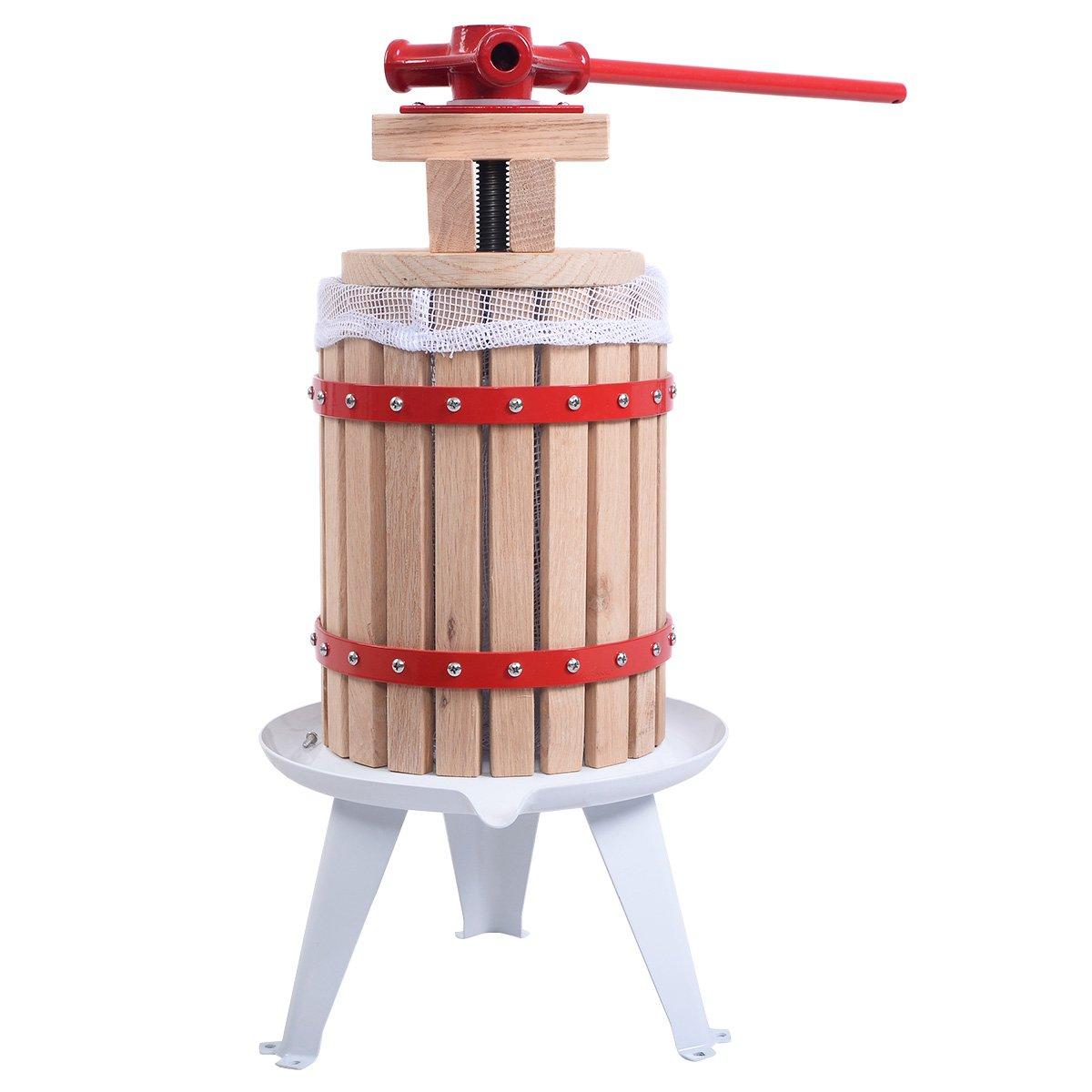 Eminetshop 1.6 Gallon Fruit Wine Making Press Cider Apple Grape Crusher Juice Maker Tool Wood Basket for Kitchen