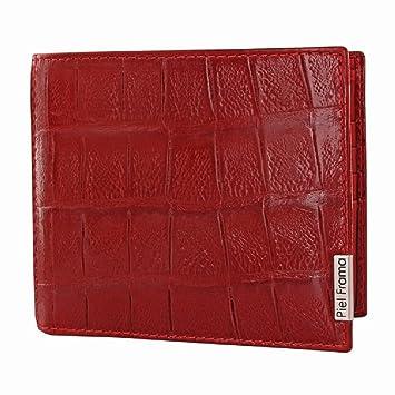 Piel Frama - Cartera de piel de alta calidad para hombre - Cocodrilo Salvaje Rojo: Amazon.es: Equipaje