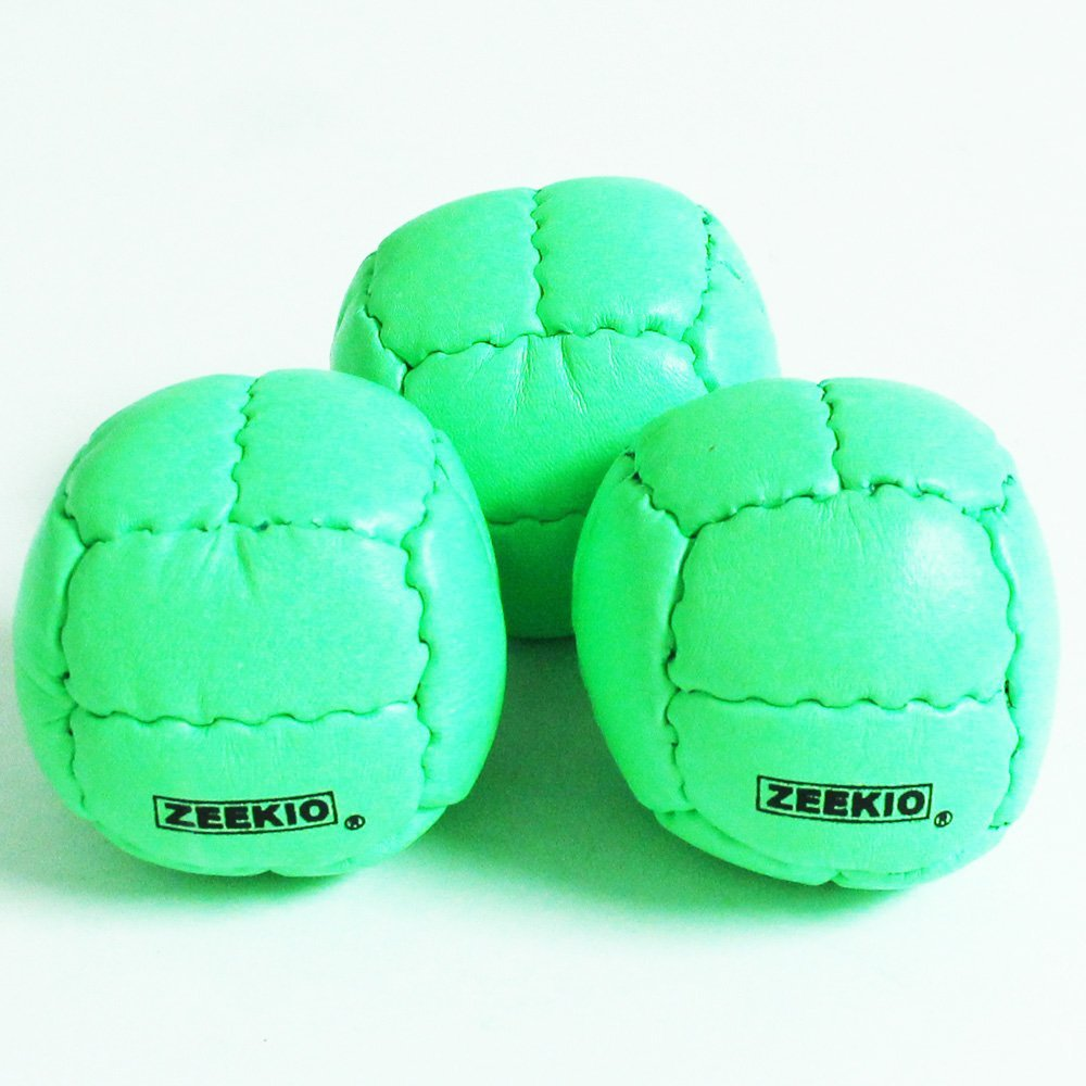 Zeekio Galaxy 12 Panel Leather Juggling Ball, Neon Green, Set of 3