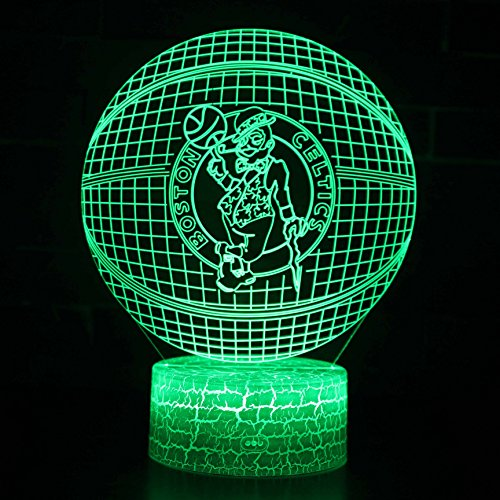 Deal Best Led Nba Team 3D Optical Illusion Smart 7 Colors Night Light Table Lamp With Usb Power Cable  Celtics