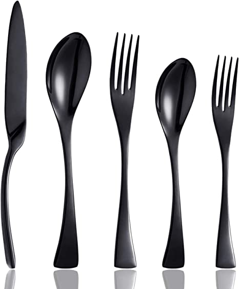 Amazon Com Culterman 20 Piece Black Flatware Silverware Cutlery Sets Unique Modern Look Home Kitchen Stainless Steel Dinnerware Tableware Utensils Sets For 4 Include Knives Forks Spoons Dishwasher Safe Flatware Sets