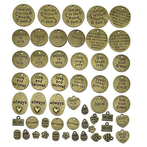 - 48PCS Antique Bronze Motivational Charms, JIALEEY Wholesale Bulk Lots Inspirational Message Charm Pendants for Crafting, Jewelry Findings Making Accessory for DIY Necklace Bracelet