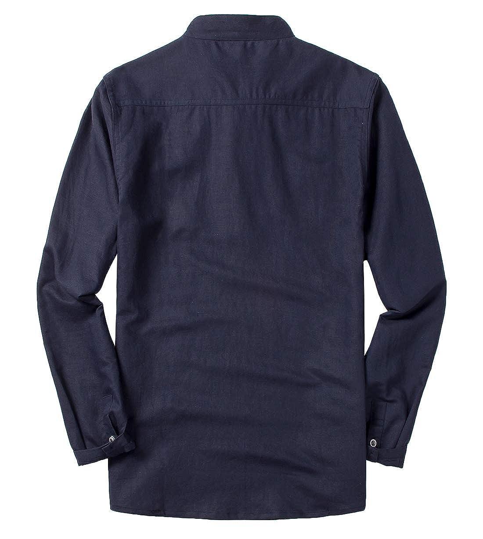 utcoco Mens Retro Frog-Button Stand Collar Long Sleeve Linen Henley Shirts Tops