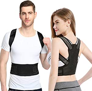 "Posture Corrector for Women and Men, Sixport Kyphosis Brace, Adjustable and Comfortable Scoliosis Back Humpback Correction Belt for Students & Children & Adult (Middle Waistline 23-26"")"