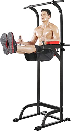 Power Tower, Workout Dip Station Pull Up Bar Tower Dip Stands for Indoor Home Gym Strength Training Fitness Office US Stock