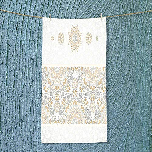 SOCOMIMI Hiking Towel Decor Turkish Oriental Tilework Star Shaped Embellished Islamic Pastel Design Beige Resort,Hotels/Motels,Gym use by SOCOMIMI