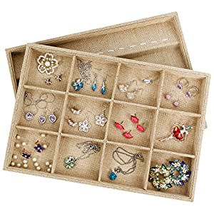 Valdler Sackcloth Stackable 12 Grid Jewelry Tray Showcase Display Organizer