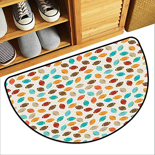 DILITECK Semicircular Door mat Football Colorful School Icons Rugby Balls University Championship Play Abstract Pattern Quick and Easy to Clean W36 xL24 Multicolor