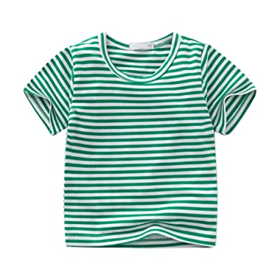Motteecity Fashion Boys Stripe Navy Style Solid Color Casual T-Shirt 1-5T