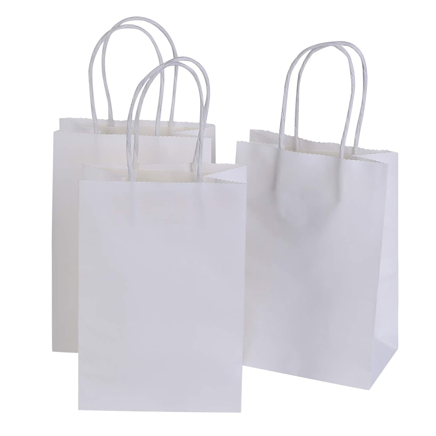 Ronvir 5.25 x 3.75 x 8 Inches Small Kraft White Paper Bags with Handles, Shopping, Grocery, Mechandise, Party Bags (100pc)