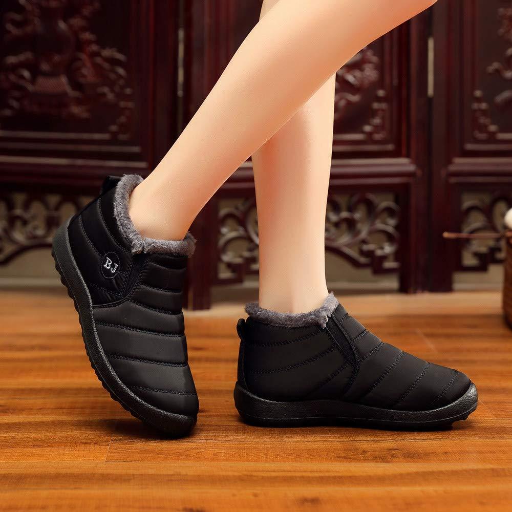 ALIKEEY Las Mujeres De Invierno De Color Sólido Keep Warm Botines Plus Boot De Terciopelo Flat Snow Boots Doradas con Alto Playa TacóN Tobillera Ecco: ...