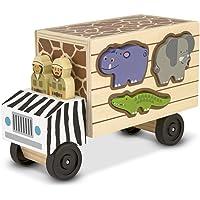 Melissa & Doug Camión de rescate de animales de clasificación de formas (juguete de madera con 7 animales y 2 figuras de juego)