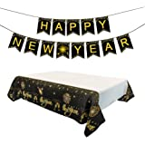 Amosfun Glitter New Year Banner Tablecloth 2020 New Year Eve Party Table Decorations Layout Props Party Props for New Year