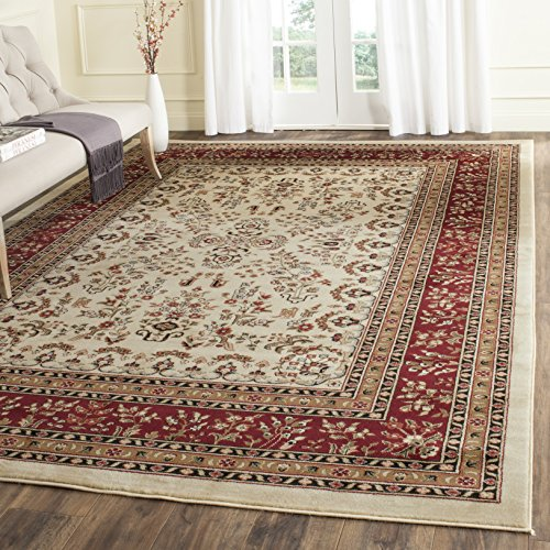 Burgundy Ivory Rug - Safavieh Lyndhurst Collection LNH331A Traditional Oriental Ivory and Red Area Rug (8' x 11')