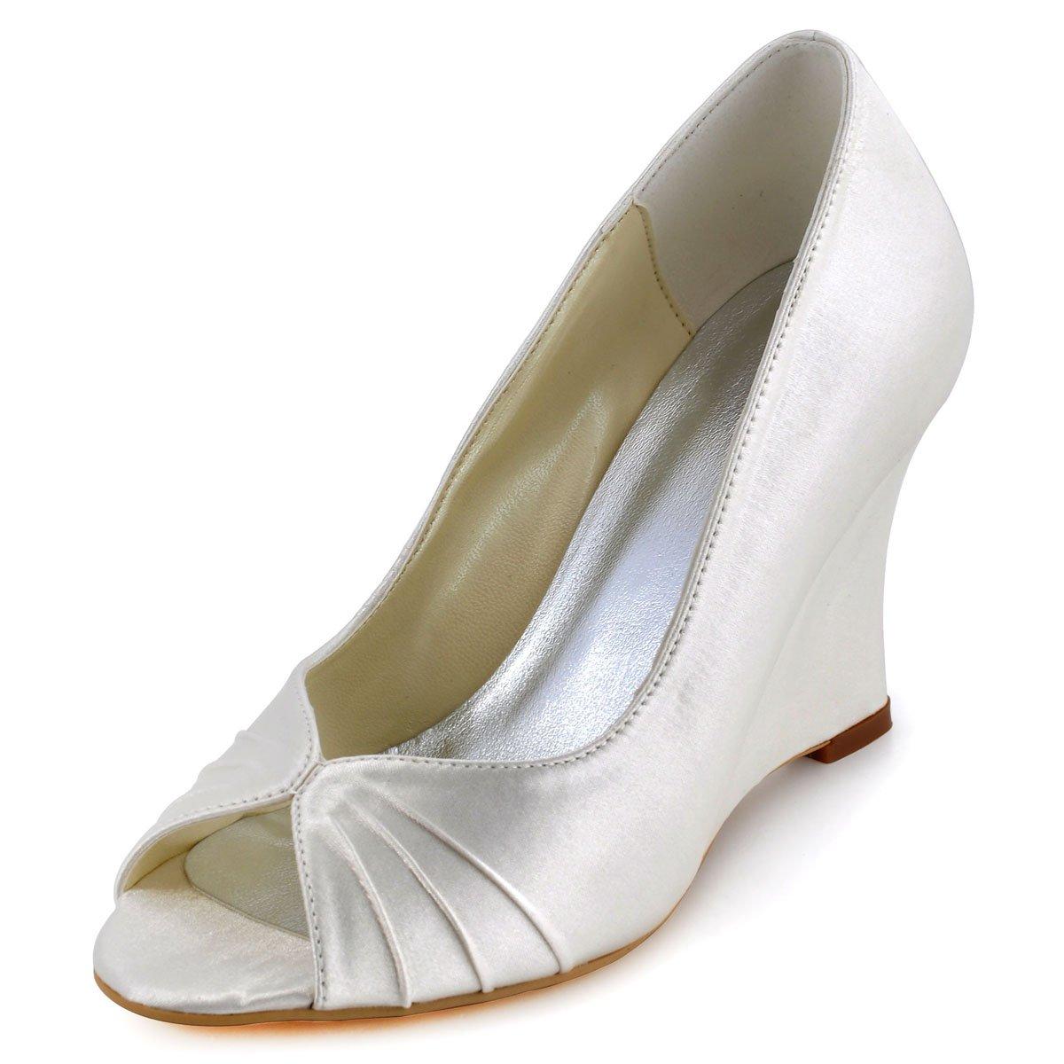 ElegantPark EP2009 Women High Heel Pumps Peep toe Pleated Satin Bridal Wedding Wedges Ivory US 9