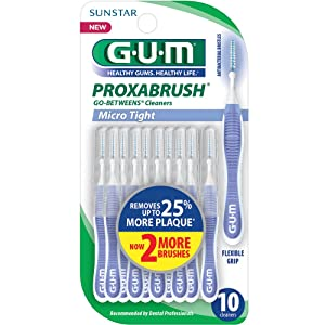 GUM Proxabrush Go-Betweens Interdental Brushes, Micro Tight, 10 Count