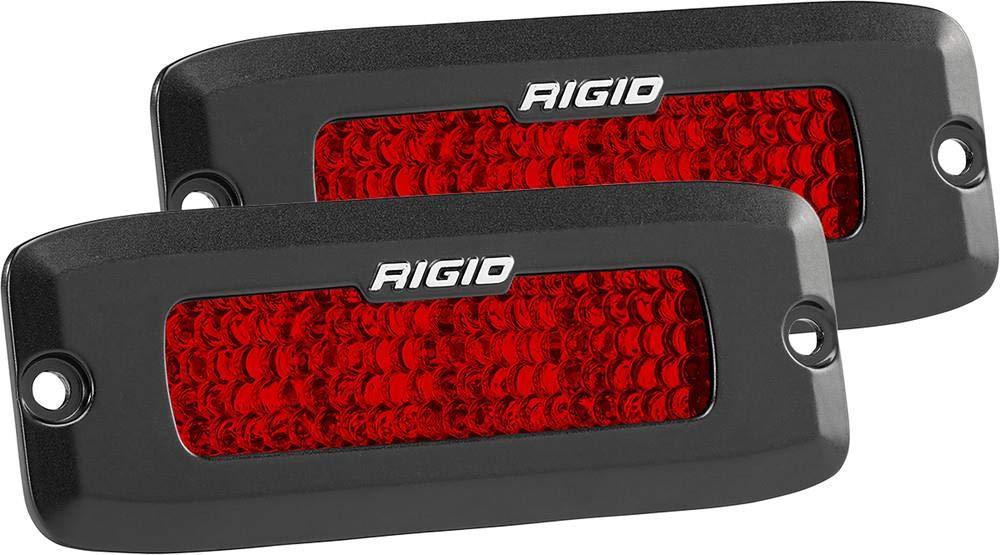 Rigid Industries 90164 SR-Q Series Rear Facing High/Low Diffused Light; Flush Mount; Black Rectangular Housing; Red Light; Incl. Mount Hardware; Harness/Switch; Deutsch Connector; Pair; Rigid Lighting