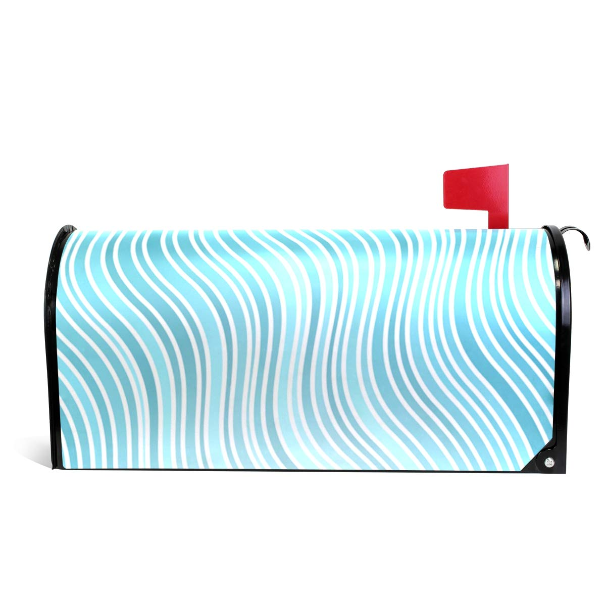 DEYYA Abstract Light Blue Wavy Stripes Magnetic Mailbox Covers and Wraps Personalized Decorative Standard Size 25.5 x 20.8 inch