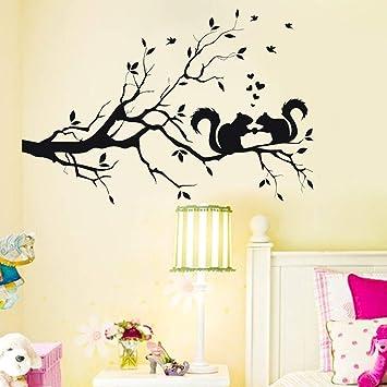 YUYU Ardilla en la Rama de un árbol Largo Etiqueta de la Pared del Papel Pintado