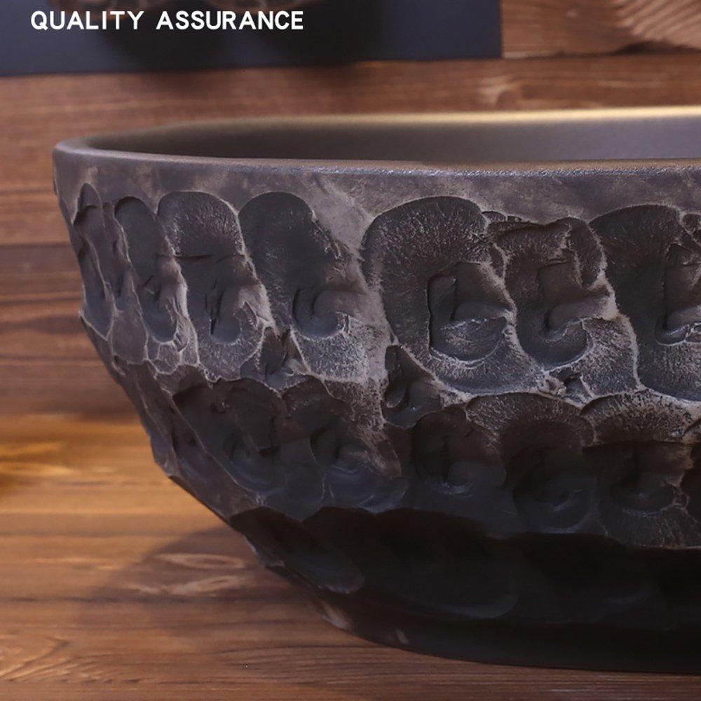 GAOLI Lavabo de cerámica del Arte de la Vendimia, Lavabo, Lavabo Oval de la encimera del Cuarto de baño, Lavabo Antiguo casero, Lavabo de encimera de mármol ...