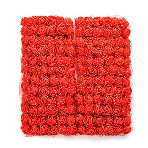Mini Foam Rose Artificial Flowers for Home Wedding Car Decoration DIY Pompom Wreath Decorative Rose Bridal Flower Bouquet Fake Flower Roses Party Birthday Home Decor 144 pcs 2cm (red) -