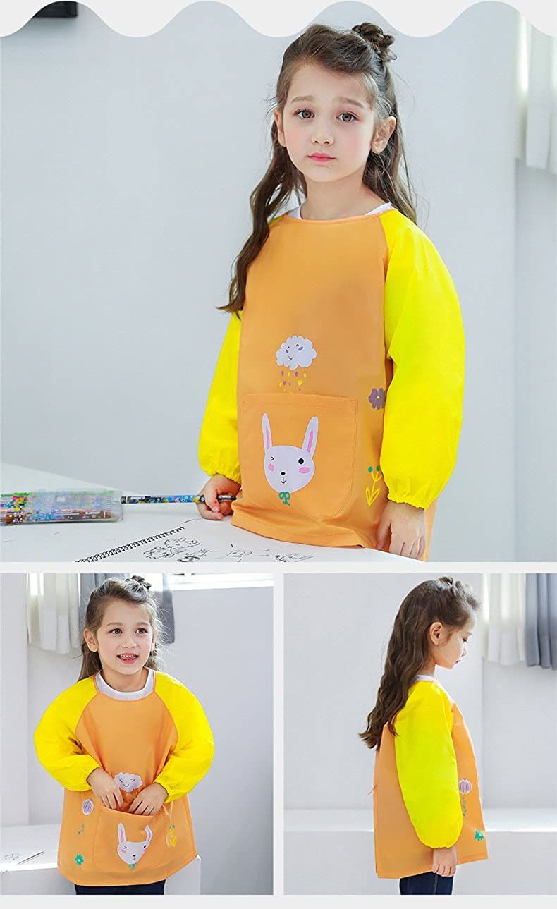 Kids Waterproof Art Aprons Children Smock with Long Sleeves for Painting and Baking